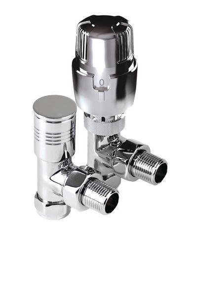 Intatec angled thermostatic radiator valve with metal lockshield pack 15mm Chrome