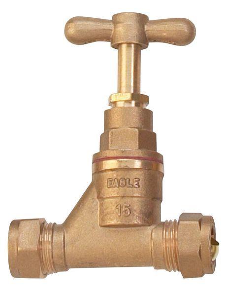 Center Center Brand copper x copper compression stop cock 15mm Brass