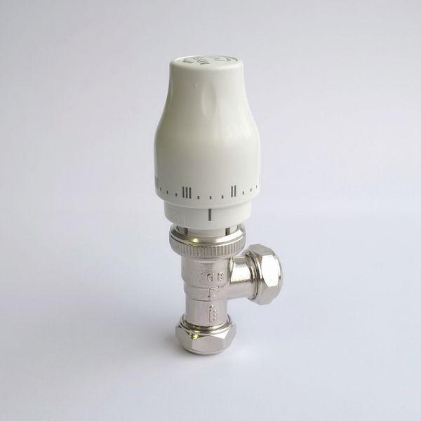 Myson Petite thermostatic radiator valve and lockshield 15mm Nickel