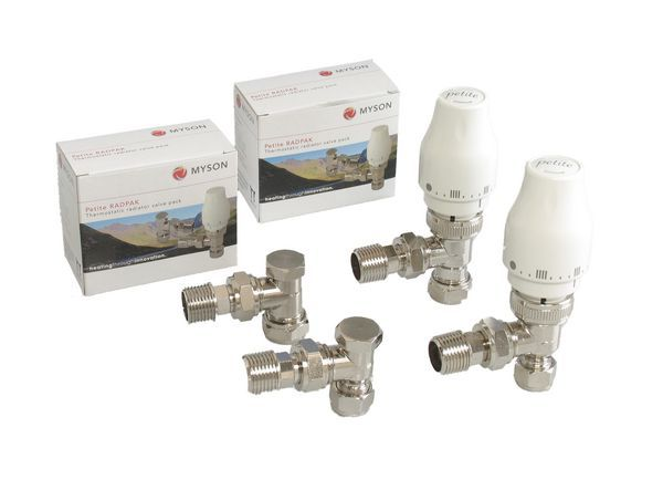 Myson Petite thermostatic radiato valve and lockshield 10mm Nickel