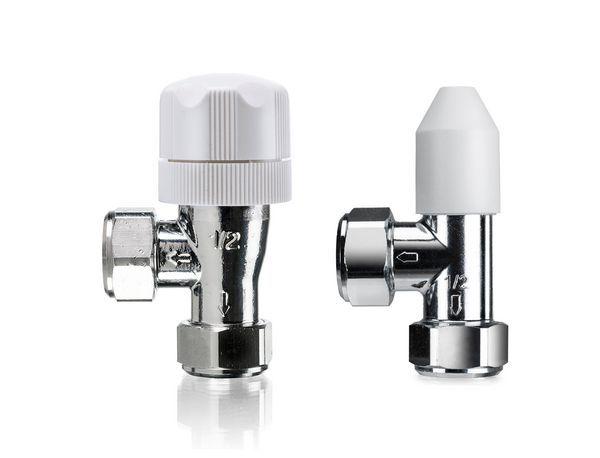 Honeywell Valencia angled drain-off manual valve with lockshield 15mm