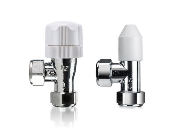 Honeywell Valencia angled pushfit manual valve with lockshield 15mm