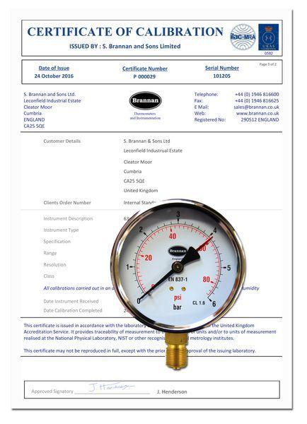 Brannan 100MM B/ENTRY PRESSURE GAUGE 0-6BAR  3/8