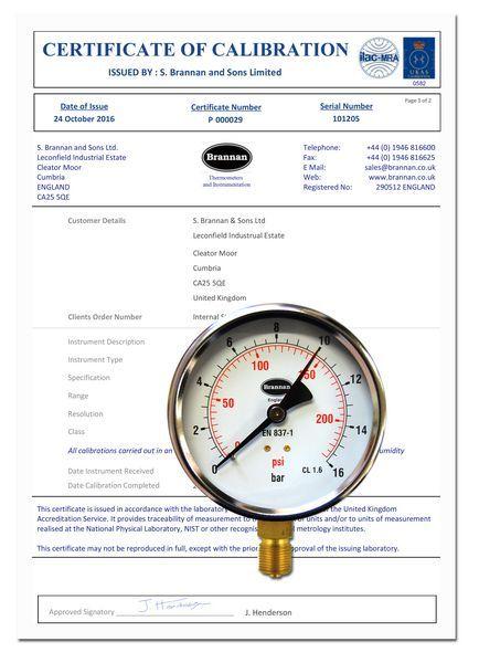 Brannan 100MM B/ENTRY PRESSURE GAUGE 0-16BAR 3/8