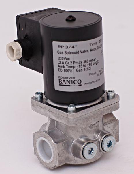 Center 3/4 gas solenoid valve automatic-reset 230v