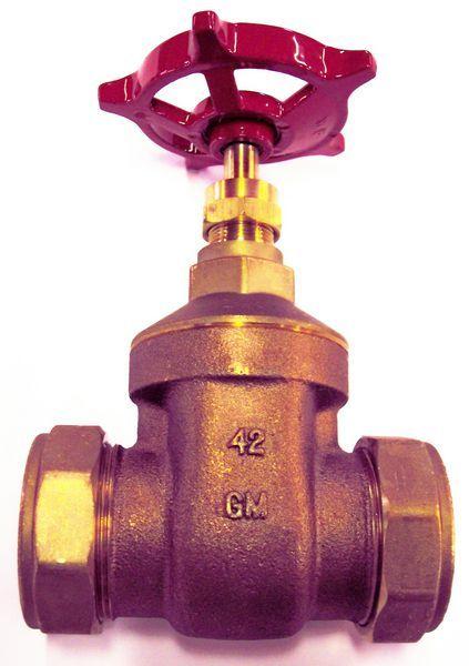 Pegler Yorkshire Prestex GM63 wheelhead copper x copper gate valve 42mm Gun Metal