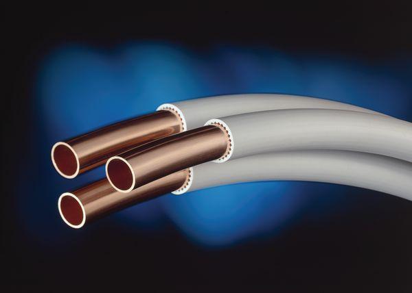 Yorkshire Minibore PVC coated copper tube coil 10mm x 50m White