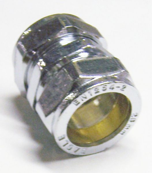 Center Center Brand compression straight coupling 15mm Chrome Plated