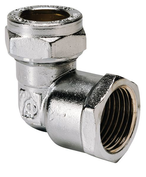 Center Center Brand compression straight female iron coupling 28mm x 1 Chrome Plated