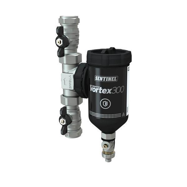 Sentinel Grant Vortex hydrocyclone filter 300ml valves 22mm T-piece brass