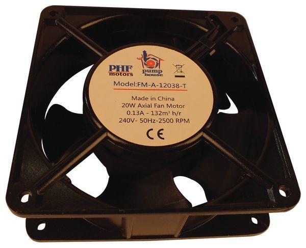 Pump House FM-A-12038-T axial fan motor ball and terminal 120 x 120 x 38mm