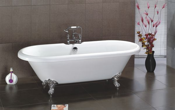 Wolseley Own Brand Nabis double ended freestanding bath with chrome ball and claw feet 1695 x 755 x 620mm