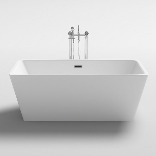 Wolseley Own Brand Nabis modern square freestanding bath including waste and overflow 1700 x 800 x 580mm White