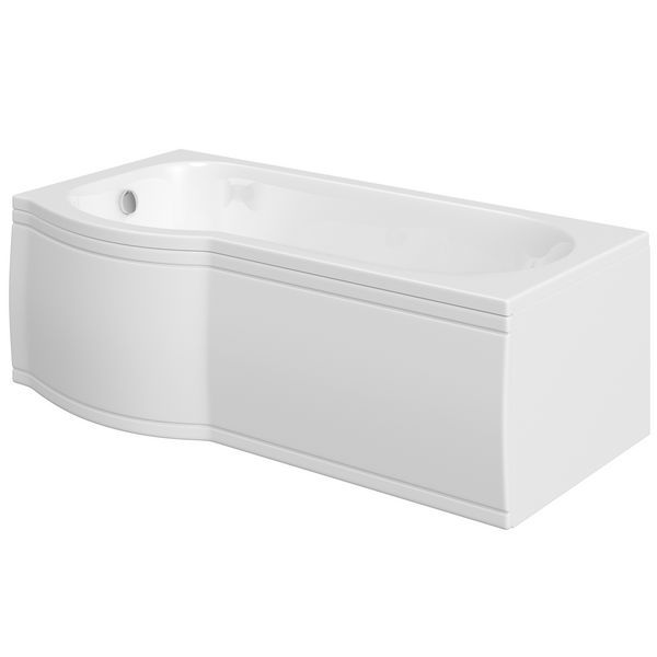 Wolseley Own Brand Nabis Taylor shower bath P-shape front panel 1700x510mm white