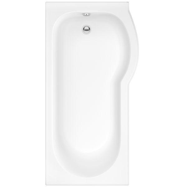 Wolseley Own Brand Nabis Taylor shower bath left hand P-shape 1500x850x750mm white