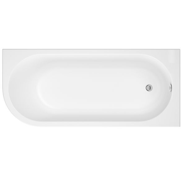 Nabis Campbell shower bath right hand J-shape 1700x750mm white