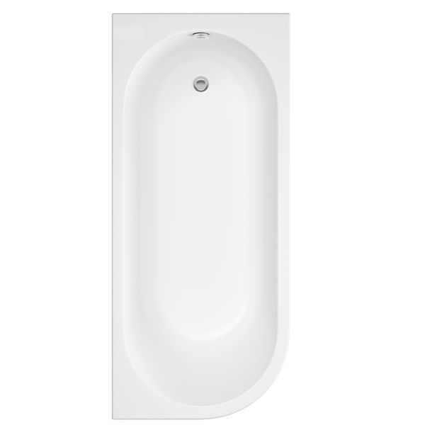 Wolseley Own Brand Nabis Campbell shower bath J-shape front panel 1700x510mm whte