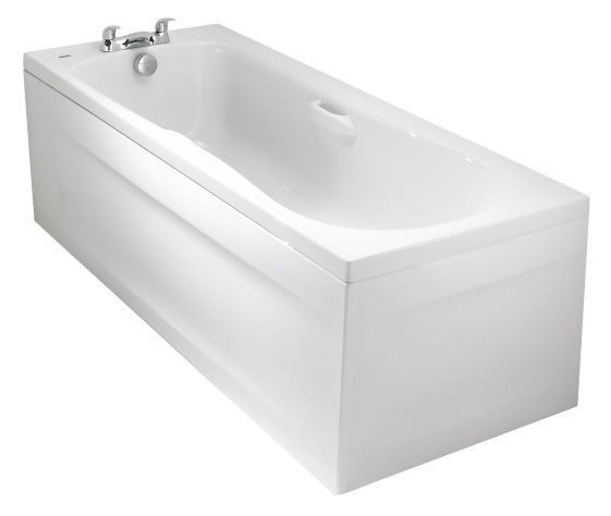 Twyford New Galerie 2 tap hole bath including twin grips 1700mm White