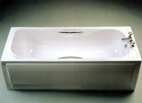 Geberit Twyford Signature 2 tap hole acrylic bath including twin grips 1700mm White/Chrome Plated