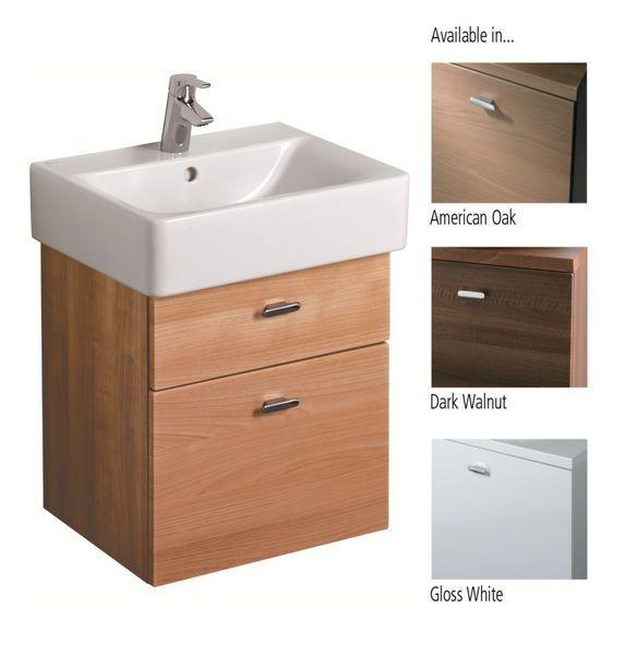 Ideal Standard Concept E6444SO wall hung cube unit 450 American Oak