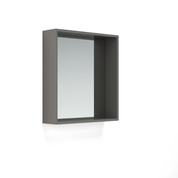 Nabis open mirror unit 600mm Charcoal Grey Gloss