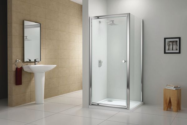 Wolseley Own Brand Center Center Brand side shower panel 800mm Chrome/Clear