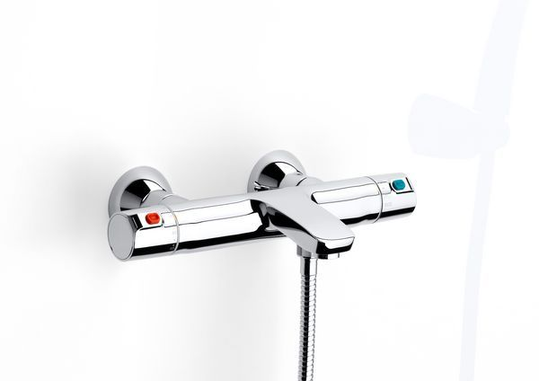 Roca V2 wall mounted thermostatic bath shower mixer tap without kit Chrome Plated