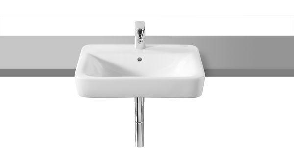 Roca Senso 1 tap hole square semi-recessed basin 560 x 420mm White
