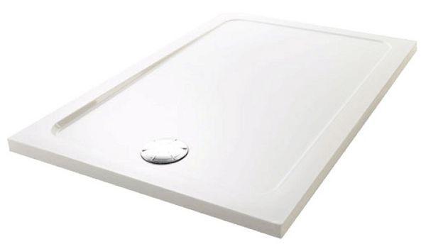 Mira Flight Low rectangular shower shower tray no upstands 1200 x 800mm White