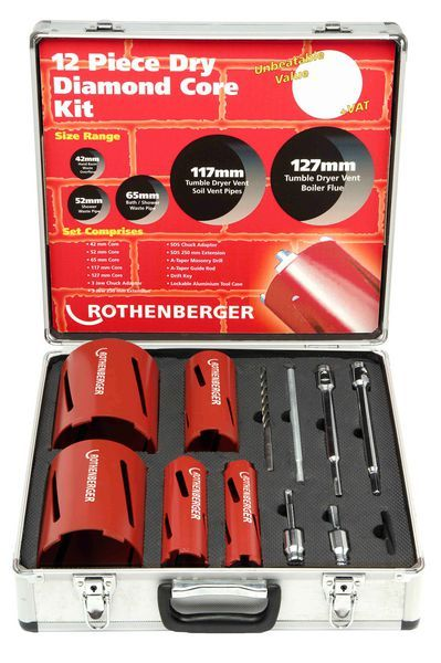 Rothenberg ROTH 12PCE DRY DIAMOND CORE DRILL KIT